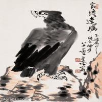 【欣赏级】JXD6163176近现代高瞻远瞩-李苦禅国画水墨立轴-30x45-动物-雄鹰名家国画动物立轴图片-2M-