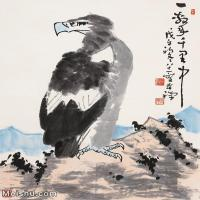 【印刷级】JXD5261286近现代国画李苦禅 鹰动物立轴图片-65M-
