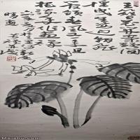 【印刷级】JXD6165106近现代李苦禅-玉簪花开案头间-256MB名家国画花鸟花卉植物立轴图片-256M-5