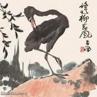 【印刷级】JXD6160518近现代柳春风图1974年作-李苦禅国画水墨小品-30x35-鹭国画动物小品图片-28M-