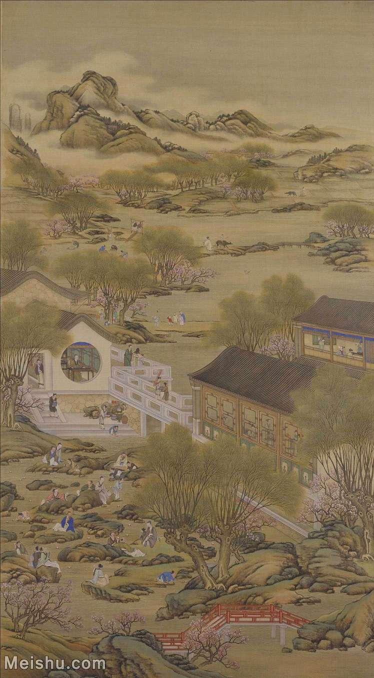 【印刷级】GH6152503古画册页山水[清]佚名-雍正十二月行乐图图片-11M-1500X2714_57633212.