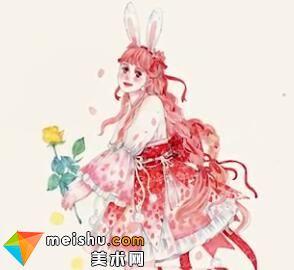 「水彩人物绘」精灵兔少女-美术高考视频教学