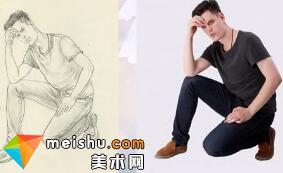 人物速写刘旭蹲姿外国人-美术高考视频教学