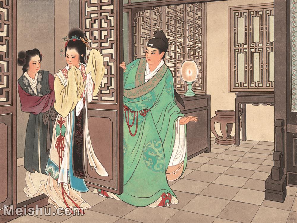 【印刷级】GH6061765古画西厢记-人物-女人-佳期册页图片-27M-3493X2625.jpg