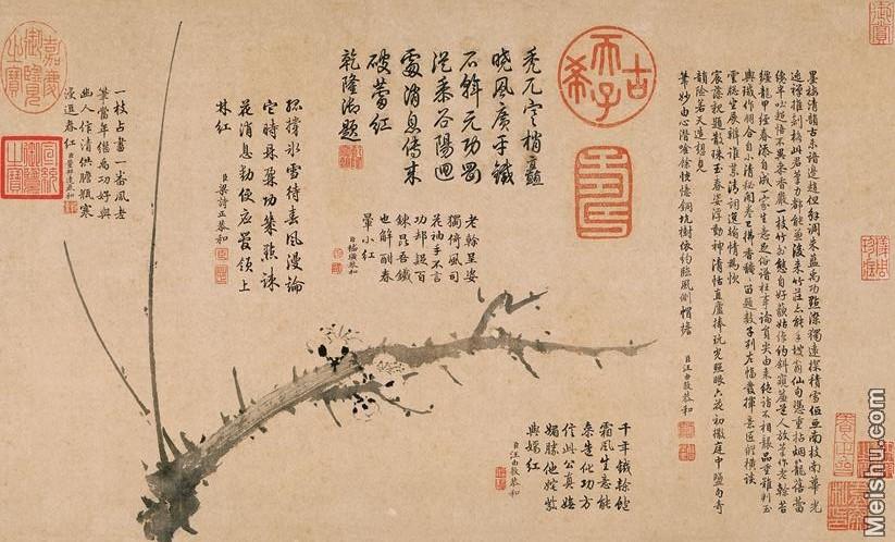 【打印级】GH7280532古画植物雪中梅竹纸镜片图片-59M-5685X3445_19974087.jpg