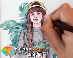 「水彩人物绘」绿色调少女-美术高考视频教学