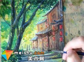 「水彩风景」古镇小路-手绘帮