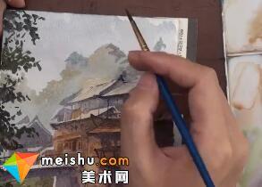 「水彩风景」村寨新桥-手绘帮