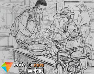 场景速写菜场玉米-美术高考视频教学