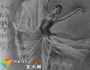 动态人物舞女白纱裙速写素描教学视频