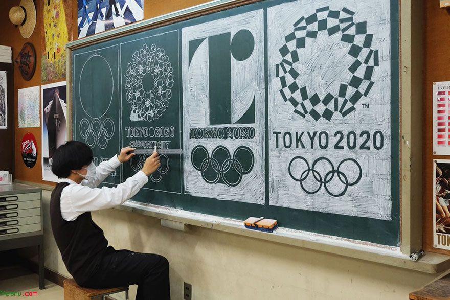 日本美术教师Hirotaka Hamasaki在黑板上创作出世界名画