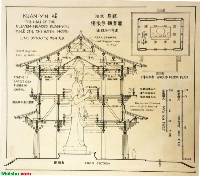 梁思成中国建筑史手绘图 精美不已<图像中国建筑史>手绘图