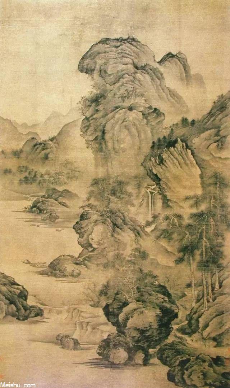 古画技法-五代画家关仝山水画技法图解