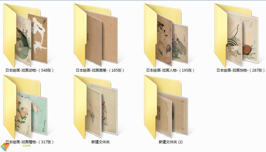 美术网FX101-日本浮世绘高清图库(缩略图版)日本绘画戏画图片素材下载(近1800张)997MB
