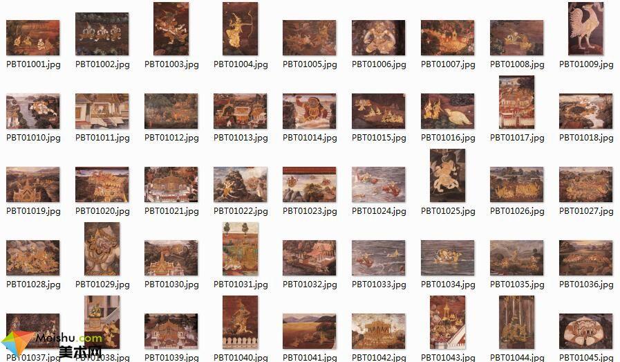 美术网FX054-[罗摩衍那壁画百图].Ramayana.mural.paintings-佛教图库资料下载-100张-14MB