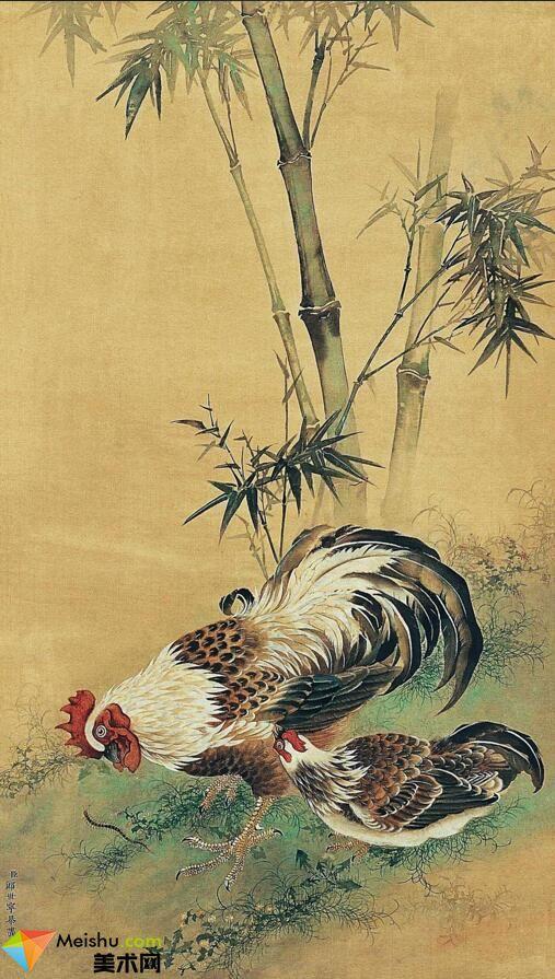 美术网FX001郎世宁双鸡图-87MB