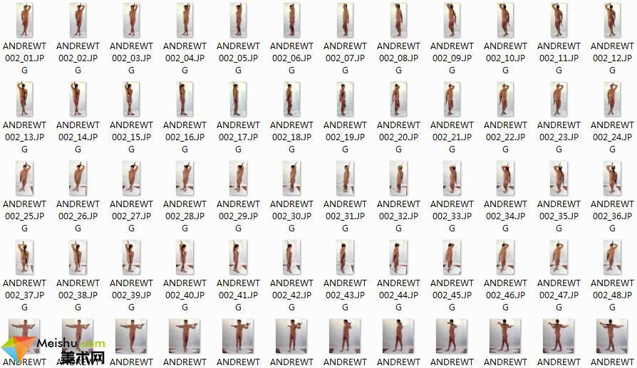 FX016人体男性模特绘画姿势素材ANDREWT-360°拍摄,抓动态抓画结构更容易-319张-241MB