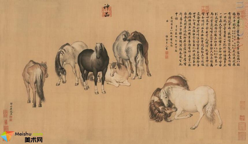 GH7280111古画动物清郎世宁《八骏神品图》镜片图片-179M-10393X6024