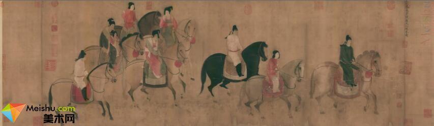 GH7280388古画人物虢国夫人游春图镜片图片-154M-13630X3965