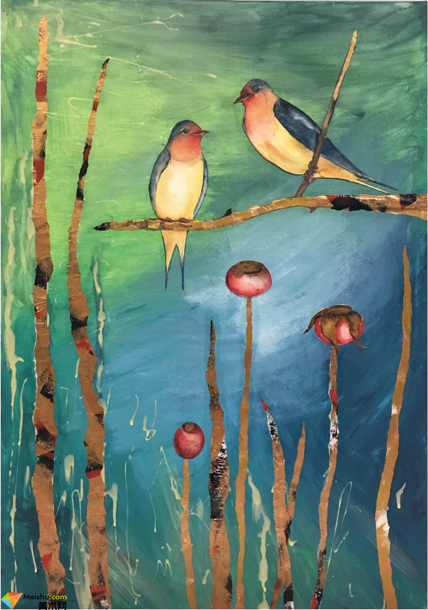维多利亚·维洛佐 中西合璧创作的水彩拼贴画