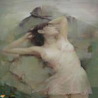 中国审美在风景油画创作中的运用,含苞待放万般风情的人体油画美女欣赏