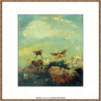 奥迪龙雷东油画作品高清图片Odilon Redon Butterflies