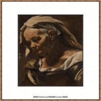意大利画家卡拉瓦乔Caravaggio油画人物高清图片Head of an Old Woman