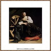 意大利画家卡拉瓦乔Caravaggio油画人物高清图片Saint Catherine (1598)