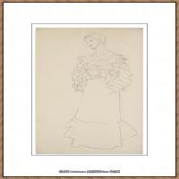 奥地利绘画大师克里姆特Austria Gustav Klimt素描手稿人物素描经典素描高清图片克里姆特速写 (11)