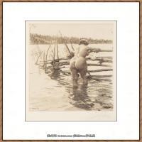 瑞典画家佐恩AndersZorn素描作品高清图片瑞典艺术大师佐恩的线条素描佐恩原作线稿高清图片下载 (48)