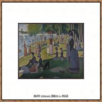 法国新印象主义点彩派画家乔治修拉Georges Seurat油画作品高清大图 (1)