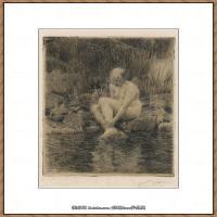 瑞典画家佐恩AndersZorn素描作品高清图片瑞典艺术大师佐恩的线条素描佐恩原作线稿高清图片下载 (108)