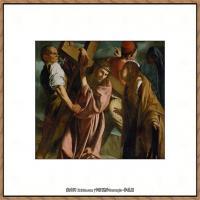 意大利画家卡拉瓦乔Caravaggio油画人物高清图片Carrying the Cross