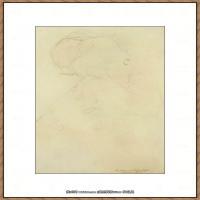 奥地利绘画大师克里姆特Austria Gustav Klimt素描手稿人物素描经典素描高清图片克里姆特速写 (58)