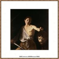 意大利画家卡拉瓦乔Caravaggio油画人物高清图片David with the Head of Goliath-Ca