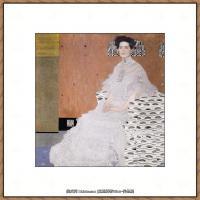 奥地利画家克里姆特Gustav Klimt油画作品高清图片Bildnis Fritza Riedler 1906
