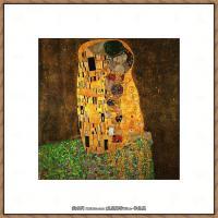 奥地利画家克里姆特Gustav Klimt油画作品高清图片吻-
