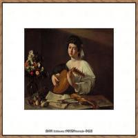 意大利画家卡拉瓦乔Caravaggio油画人物高清图片Lute Player (1596)