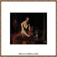 意大利画家卡拉瓦乔Caravaggio油画人物高清图片Saint Jerome Writing (c