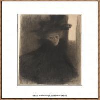 奥地利画家克里姆特Gustav Klimt油画作品高清图片Portrait of a Lady with Cape an