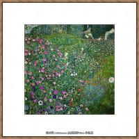 奥地利画家克里姆特Gustav Klimt油画作品高清图片意大利的风景花园