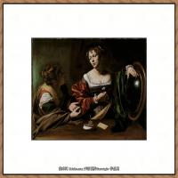 意大利画家卡拉瓦乔Caravaggio油画人物高清图片Martha and Mary Magdalene (c