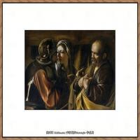 意大利画家卡拉瓦乔Caravaggio油画人物高清图片Caravaggio,The Denial of Saint Pe