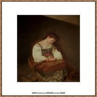 意大利画家卡拉瓦乔Caravaggio油画人物高清图片Penitent Magdalene (1594-6)