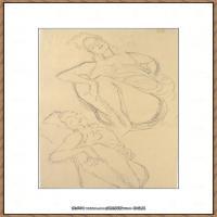奥地利绘画大师克里姆特Austria Gustav Klimt素描手稿人物素描经典素描高清图片克里姆特速写 (14)