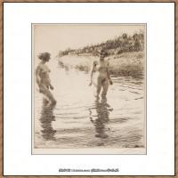 瑞典画家佐恩AndersZorn素描作品高清图片瑞典艺术大师佐恩的线条素描佐恩原作线稿高清图片下载 (19)