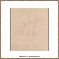 奥地利绘画大师克里姆特Austria Gustav Klimt素描手稿人物素描经典素描高清图片克里姆特速写 (71)