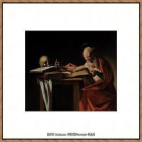 意大利画家卡拉瓦乔Caravaggio油画人物高清图片Saint Jerome Writing (1605-6)-