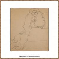 奥地利绘画大师克里姆特Austria Gustav Klimt素描手稿人物素描经典素描高清图片克里姆特速写 (46)
