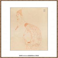 奥地利绘画大师克里姆特Austria Gustav Klimt素描手稿人物素描经典素描高清图片克里姆特速写 (18)